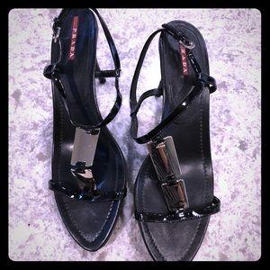 PRADA Patent Mirror Nero Sandal